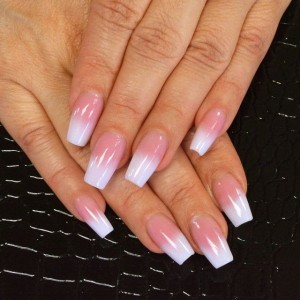 pink and white painted on solar nails westport kc