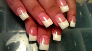 pink and white sparkle results square tip solar nails westport kc