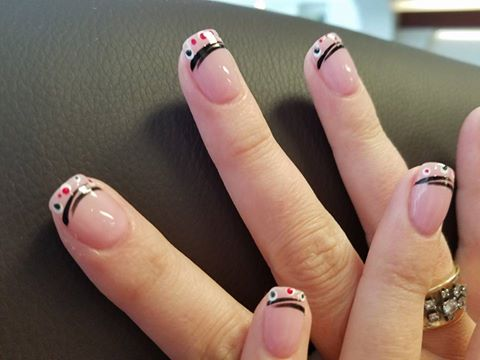 stripes and dots nail design