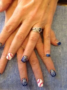 Nail art Royals baseball Kansas City Westport Solar Nails