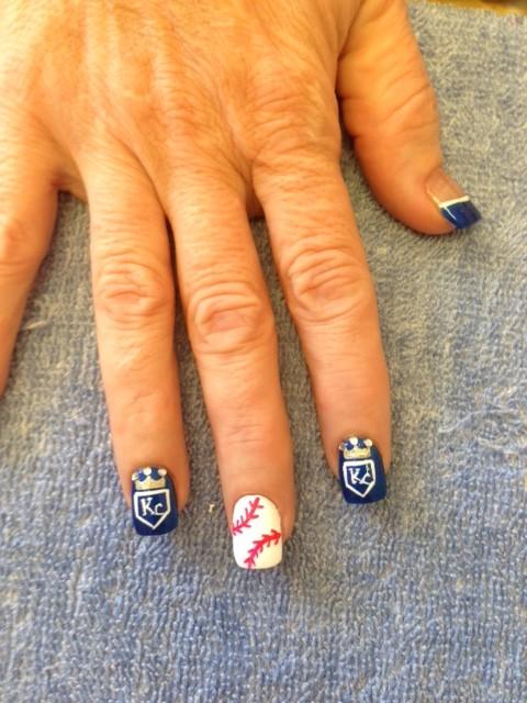 Royals nail art in Kansas City Solar Nails Westport