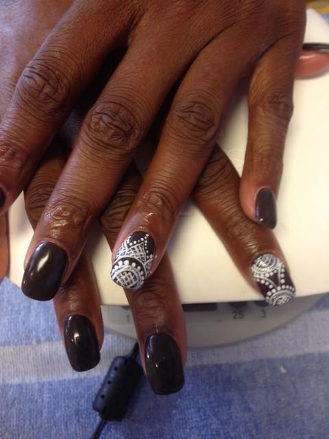 black and white nail art Solar Nails westport Kansas City