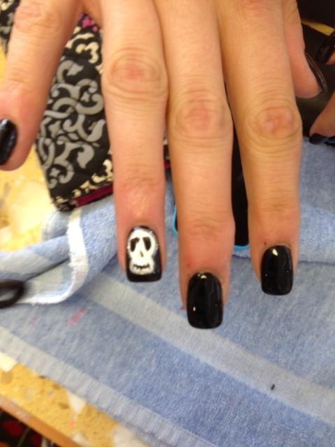 Halloween design nail art KC skull Solar Nails Westport